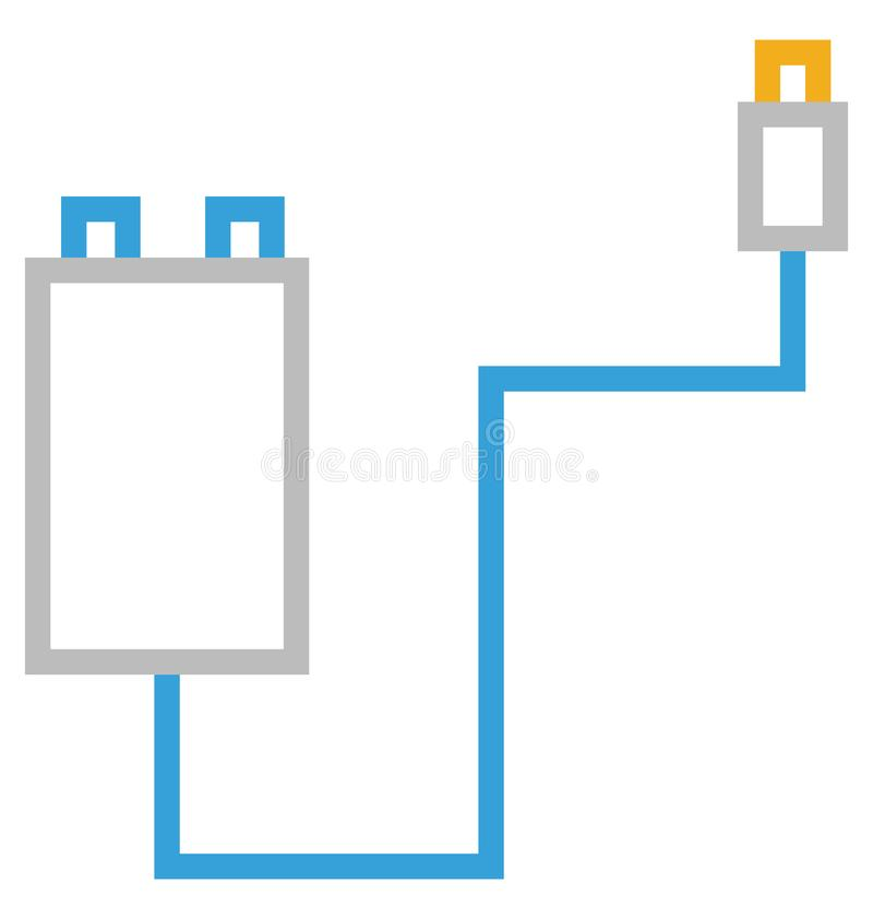 Usb cable Isolated Line With Color Vector Icon Editable stock illustration