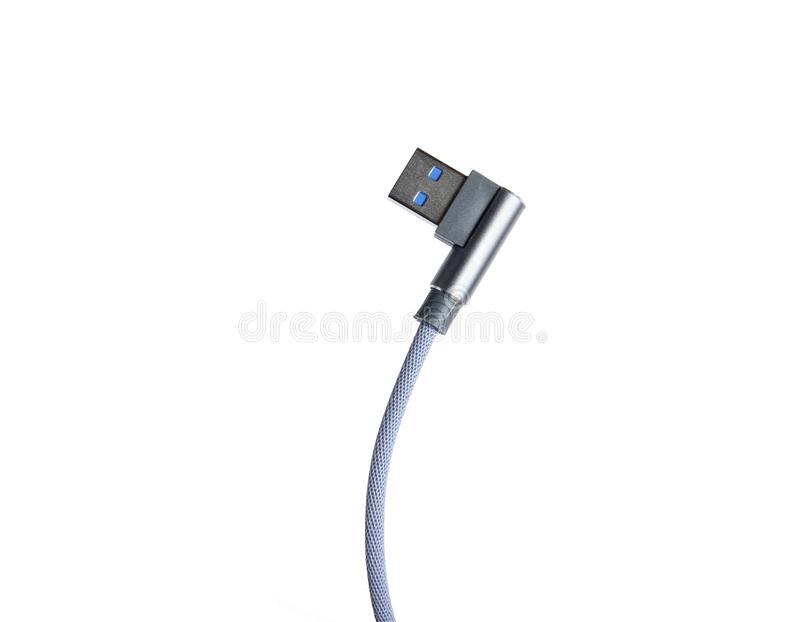 USB cable. On isolated on white background stock illustration