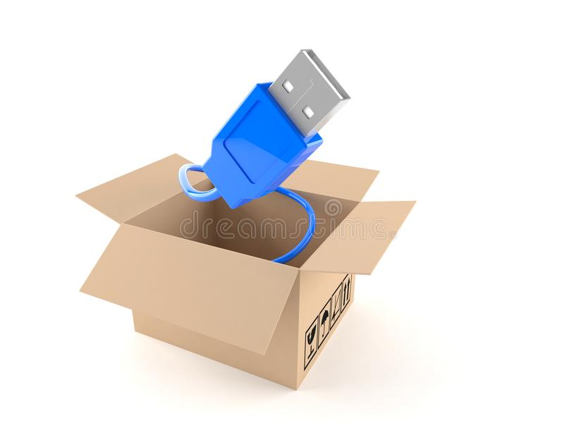 USB cable with package box. Isolated on white background vector illustration