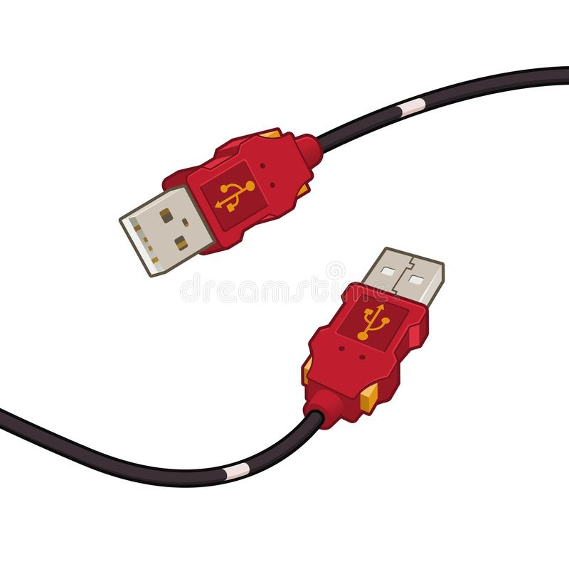 USB Cable Plug Red Cartoon Design Vector Illustration. USB cable plug red cartoon design, isolated on white background, vector clip art illustration vector illustration