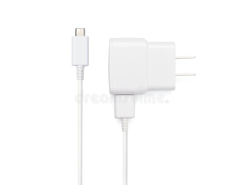 USB cable plug with USB power plug adaptor. Close up white USB and micro USB cable plug with USB power plug adaptor, isolated on white background royalty free stock images
