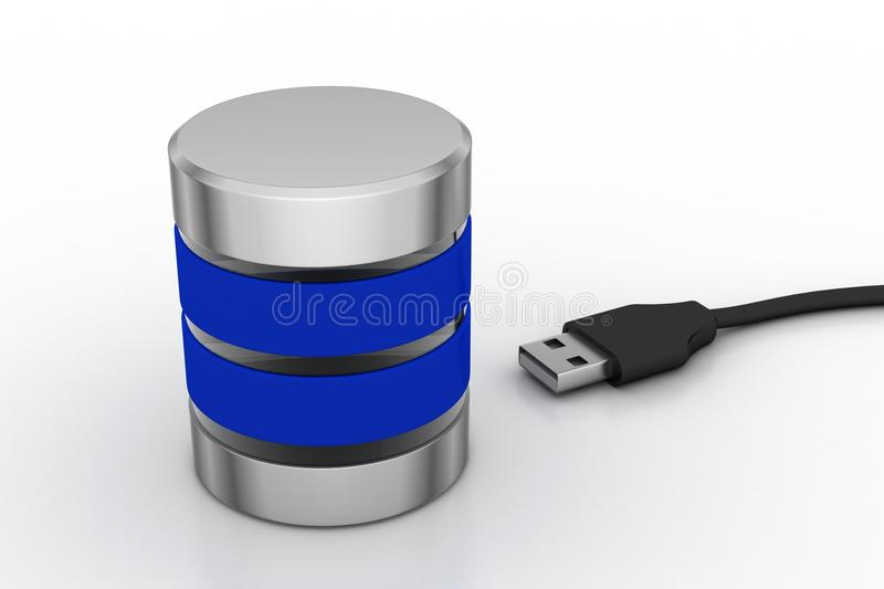 USB cable with server. In white background royalty free illustration