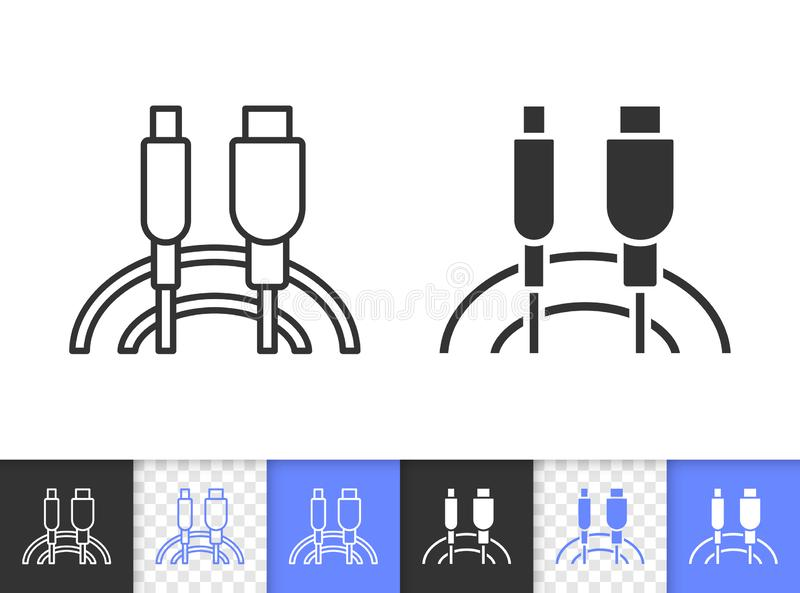 Usb Cable simple black line vector icon. Usb Cable black linear and silhouette icons. Thin line sign of plug. Connector outline pictogram isolated on white vector illustration