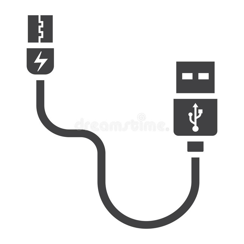 USB cable solid icon, connector and charger. Vector graphics, a glyph pattern on a white background, eps 10 stock illustration