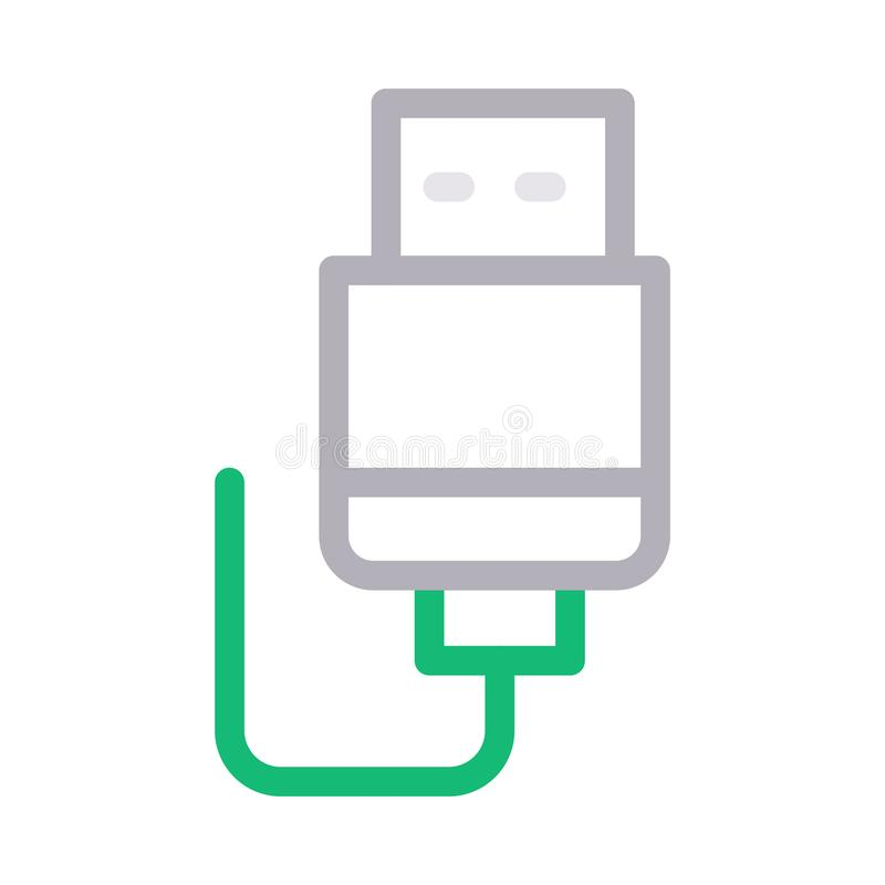 Usb cable thin color line vector icon royalty free illustration