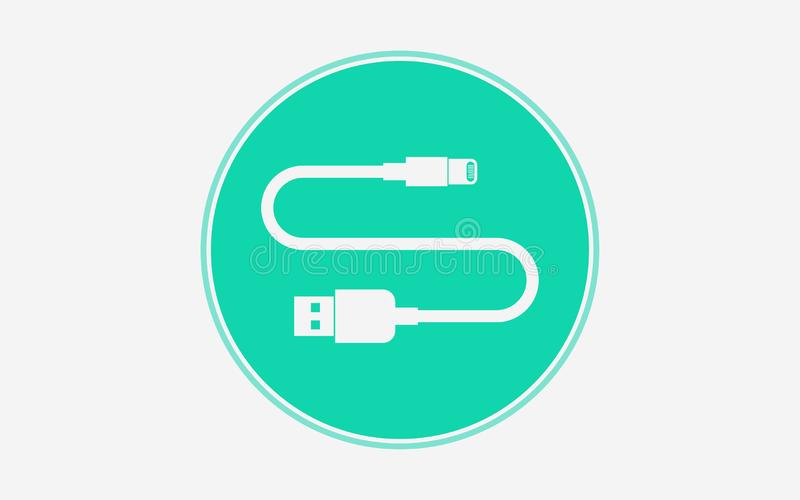 Usb cable vector icon sign symbol. Usb cable icon vector, filled flat sign, solid pictogram isolated on white. Symbol, logo illustration stock illustration