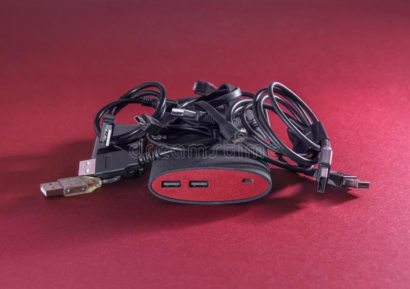 Powerbank on red background stock photos