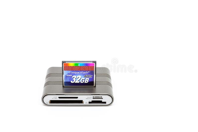 Usb card reader and memory card compact flash 32 GB. stock image