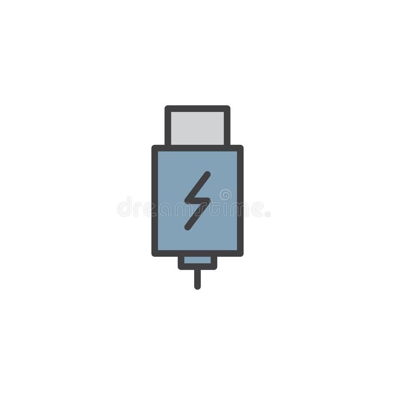 USB charging plug filled outline icon. Line vector sign, linear colorful pictogram isolated on white. Symbol, logo illustration. Pixel perfect vector graphics stock illustration