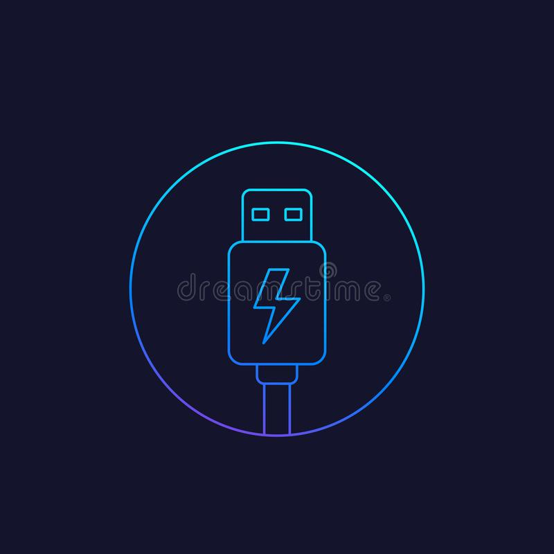 Usb charging plug icon, line vector. Eps 10 file, easy to edit stock illustration