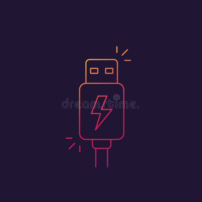 Usb charging plug icon, linear. Eps 10 file, easy to edit royalty free illustration
