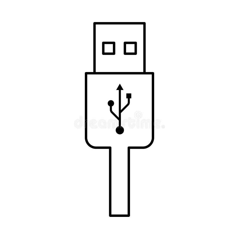 Usb charging plug icon on white background. Usb charging plug outline icon on white background vector illustration