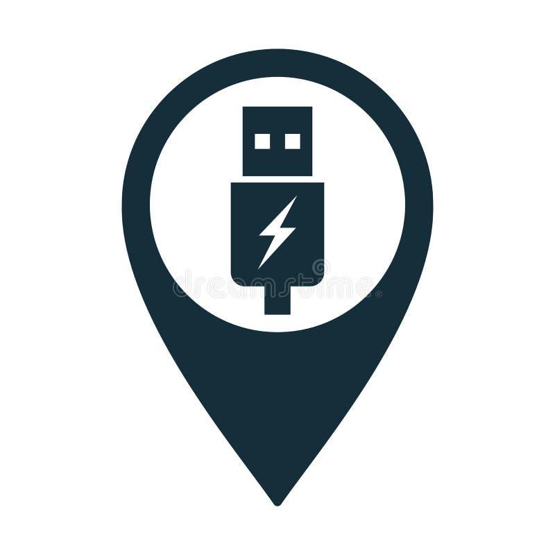 Usb charging plug icon on white background. Usb charging plug pin location icon on white background stock illustration