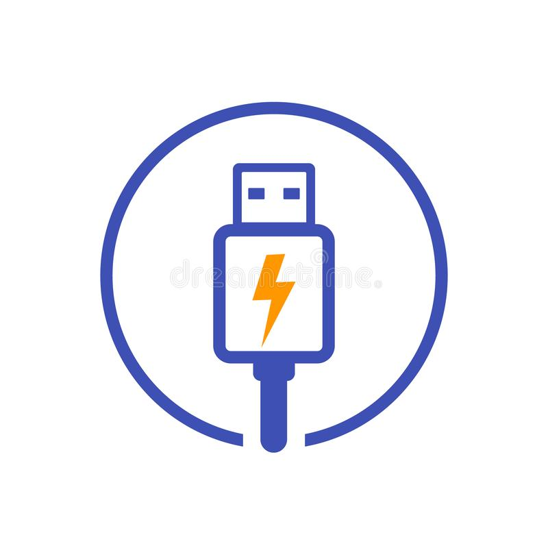 Usb charging plug vector icon. Eps 10 file, easy to edit vector illustration
