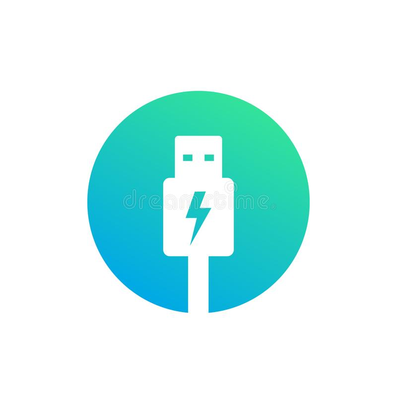 Usb charging plug vector icon. Eps 10 file, easy to edit royalty free illustration