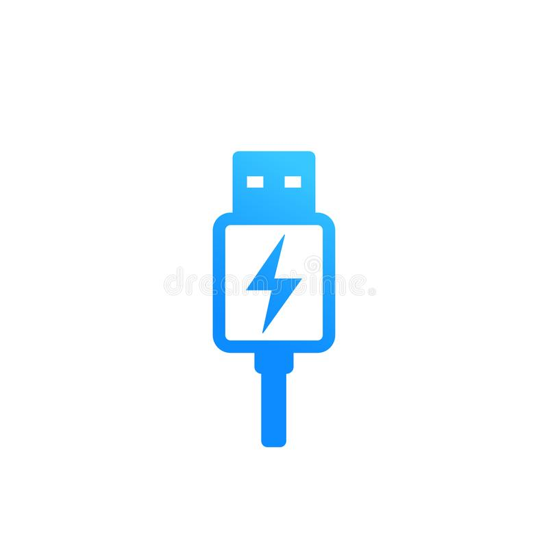 Usb charging plug vector icon on white stock illustration