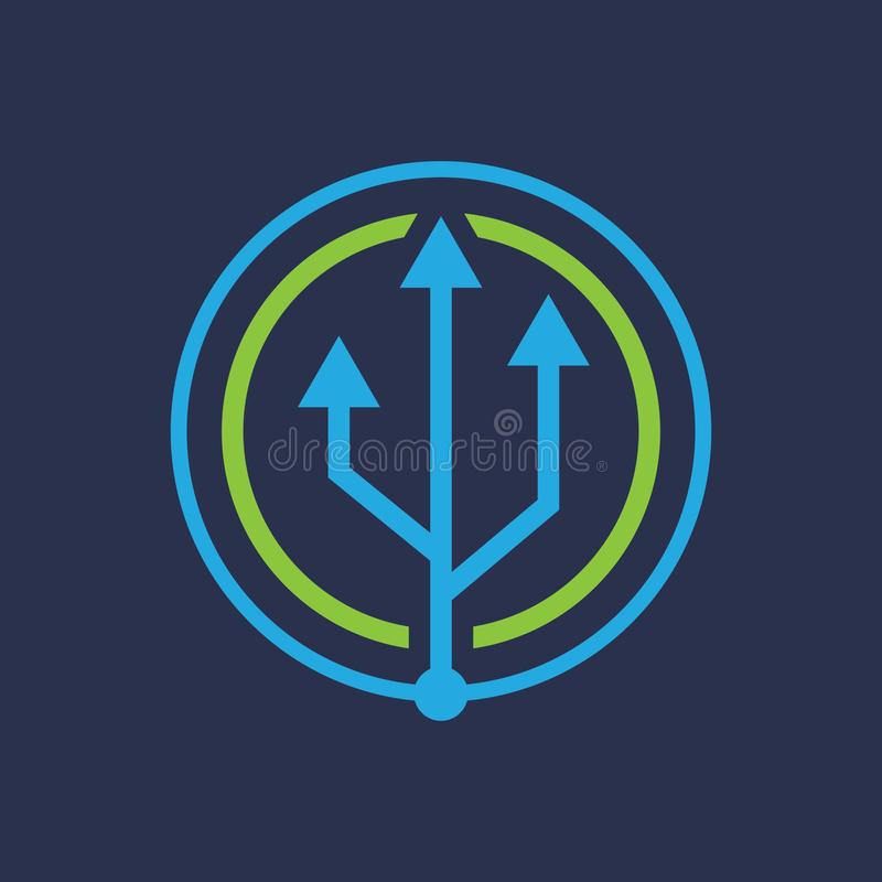USB Connection Circle Arrow Logo vector vector illustration