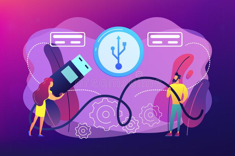 USB connection concept vector illustration. Businessman and woman choosing port to insert cable and USB symbol. USB connection, USB port standard, digital data royalty free illustration