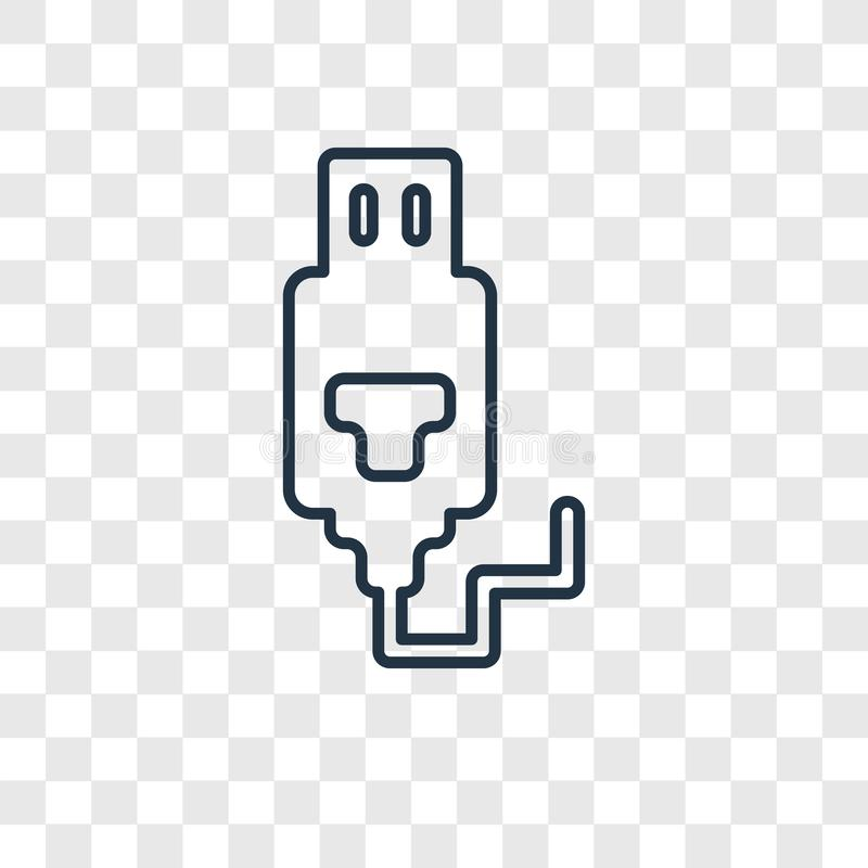 USB Connection concept vector linear icon isolated on transparent background, USB Connection concept transparency logo in outline. USB Connection concept vector stock illustration
