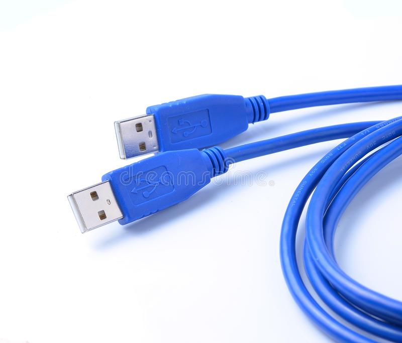 USB connector against white background royalty free stock image