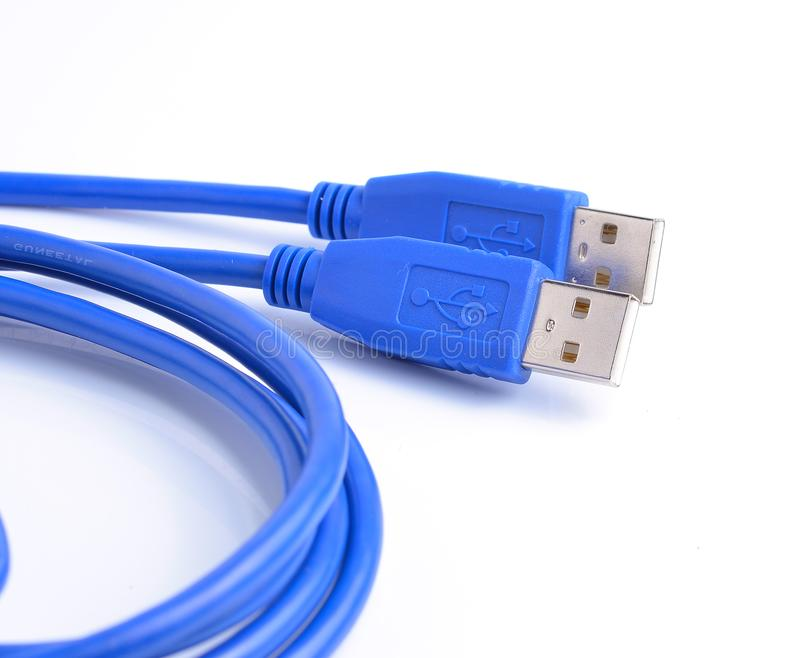 USB connector against white background royalty free stock photos