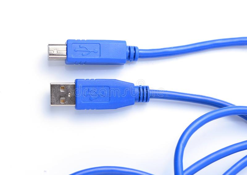 USB connector against white background stock images