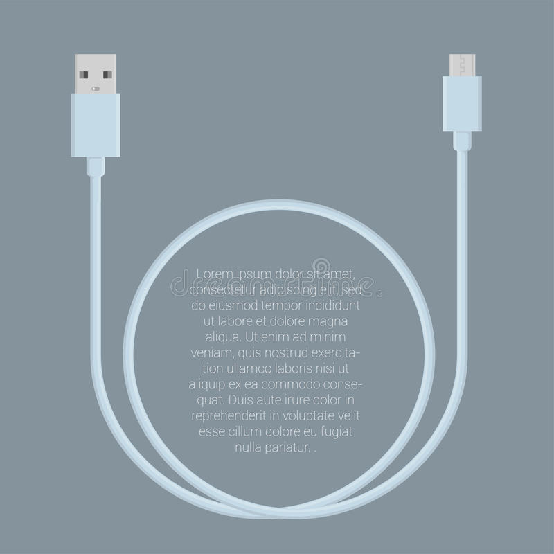 Usb data cable template. Flat design light pink usb data charge cable connectors vector template stock illustration