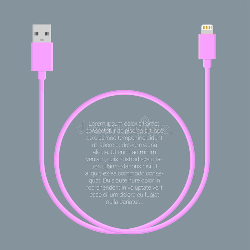 Usb data cable template. Flat design light pink usb data charge cable connectors vector template vector illustration