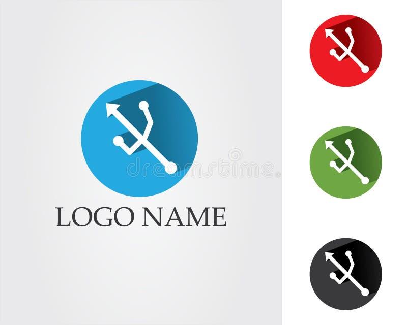 Usb data internet cable logo and symbols.  stock illustration