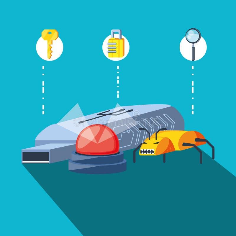 Usb di memoria con sicurezza cyber delle icone illustrazione di stock