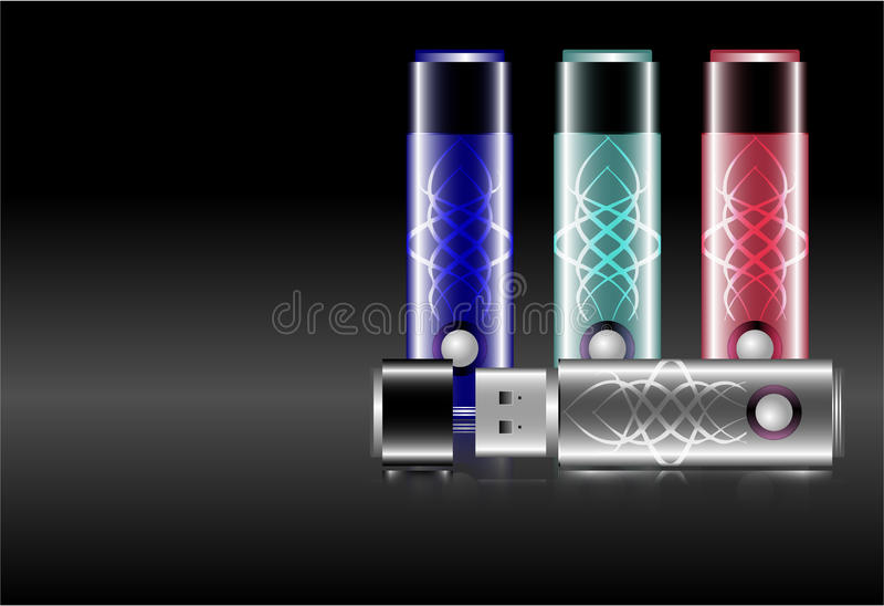 Usb drive flash memory stick, portable storage. With and witout ornaments, and in a style of its cap on and off vector illustration