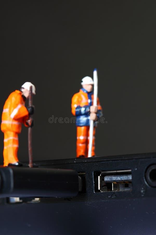 USB för konstruktionsmodellarbetare kabel D arkivbild