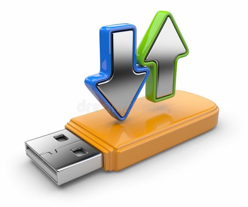 USB flash drive and arrow 3D. stock illustration