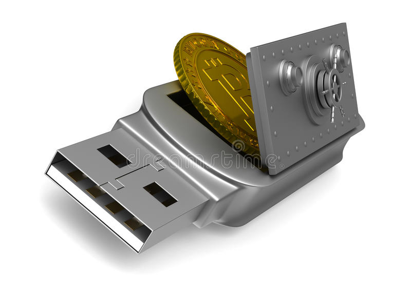 Usb flash drive and bitcoin on white background. Isolated 3D stock illustration