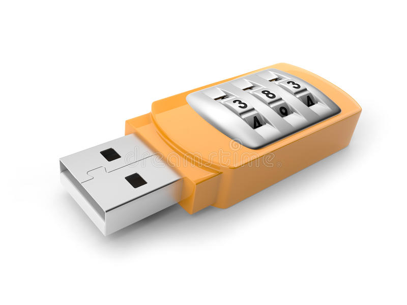 Download USB Flash Drive With Combination Lock Royalty Free Stock Images - Image: 26183559