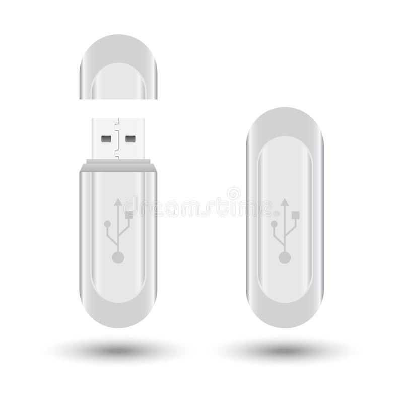 Download USB flash drive stock vector. Illustration of gray, drive - 34100554