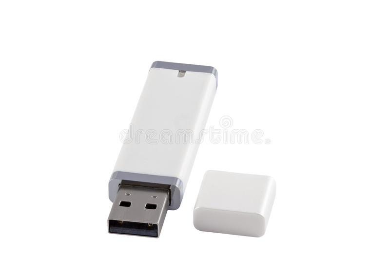 USB flash memory. Close up of a USB flash memory isolated on white. Isolated with clipping paths. Dff image stock photos