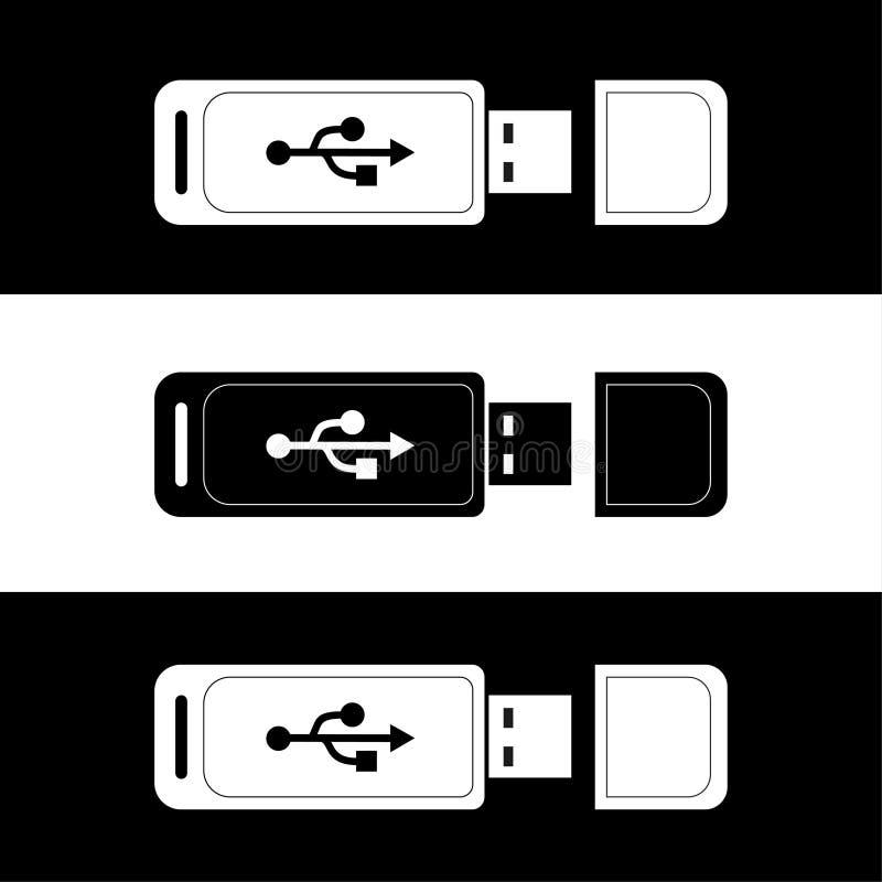 Usb flash nap?du Kciuk przeja?d?ka B?yskowa pami?? usb przejażdżki projekt czarny i biały royalty ilustracja