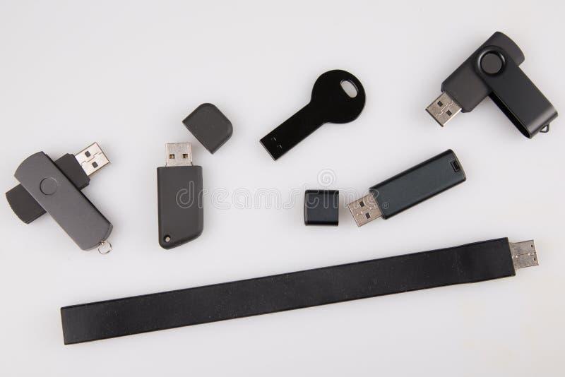 USB-flashstationsmalplaatje voor adverterende en collectieve die identiteit op wit wordt geïsoleerd royalty-vrije stock fotografie