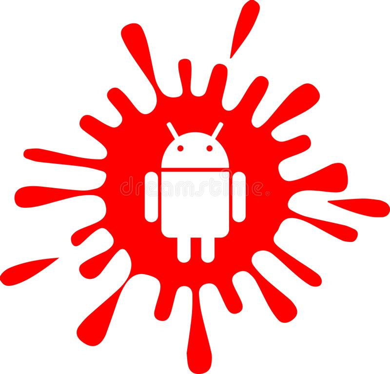 Android ink splash icon. Red colour android ink splash icon. Best for web icon, splash screens, graphics, banners and posters royalty free illustration
