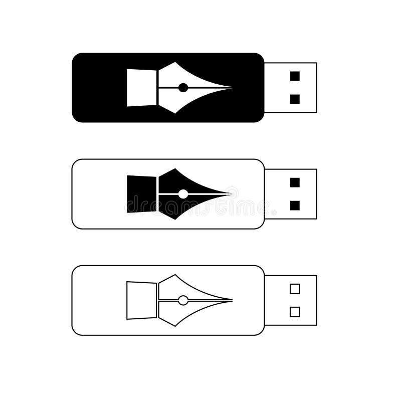 USB-flitsaandrijving, draagbare gegevensopslag vector illustratie