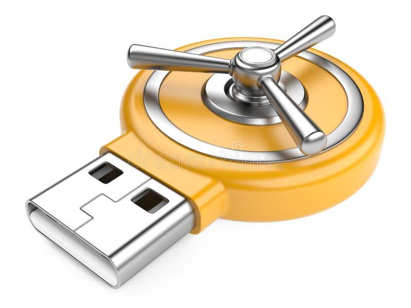 USB-flitsaandrijving en Combinatieslot royalty-vrije illustratie