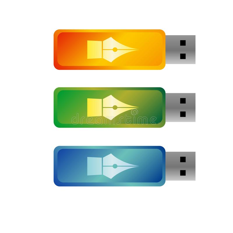 USB-flitsaandrijving, gekleurde draagbare gegevensopslag royalty-vrije illustratie