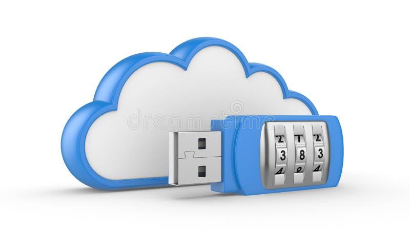USB flitsaandrijving met combinatieslot en wolk royalty-vrije illustratie