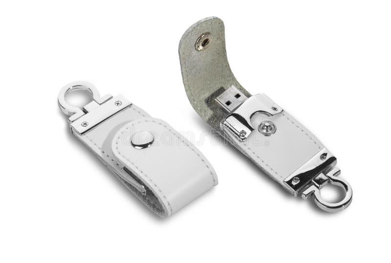 USB-geheugen zeer belangrijke keten stock foto