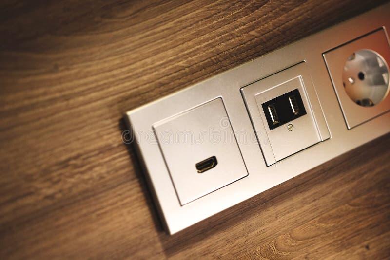 USB, HDMI, zócalos de poder foto de archivo libre de regalías
