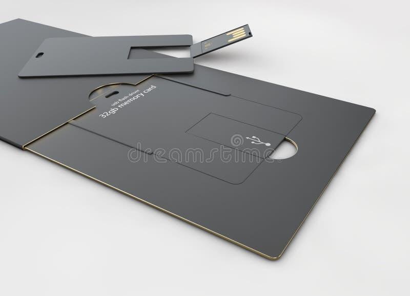 USB-het lege malplaatje van de flitskaart voor collectieve identiteit op geïsoleerde grijs stock foto