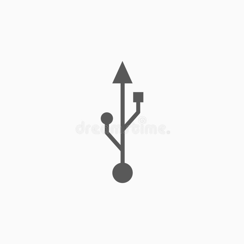 Usb icon, cable, computer, portable. Usb icon, cable vector, computer illustration, portable icon royalty free illustration