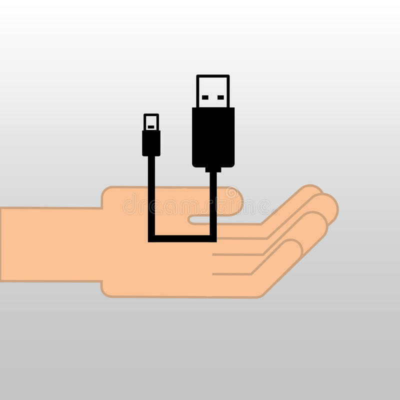 USB icon connetion plug cable design royalty free illustration