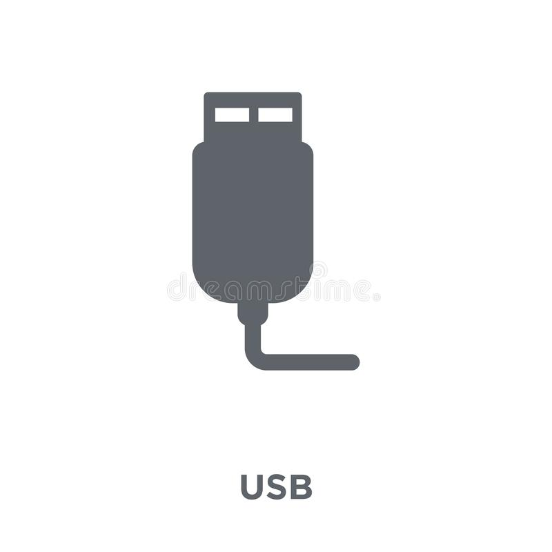 Usb icon from Electronic devices collection. Usb icon. Usb design concept from Electronic devices collection. Simple element vector illustration on white royalty free illustration